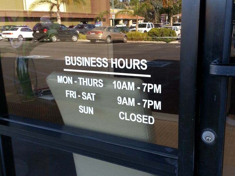 Store front signage and decals business hours and business hour window decals custom logo window signage