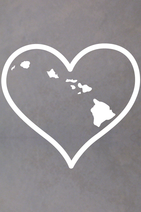 Hawaiian Islands Heart Decal San Diego Sticker